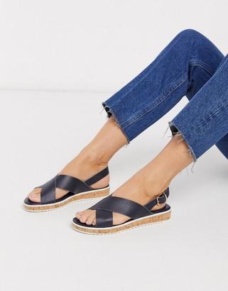 Dune lorde cross strap flat sandals in navy