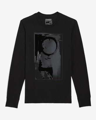 Express Black Brushstroke Long Sleeve Graphic T-Shirt
