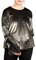 Rachel Roy Plus Size Women's Ruffle Sleeve Metallic Sweatshirt