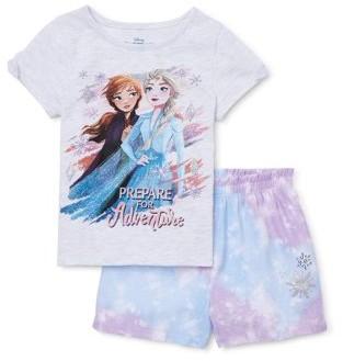 Frozen 2 Anna & Elsa Toddler Girls Short Sleeve T-shirt & Shorts, 2pc outfit set (2T-5T)