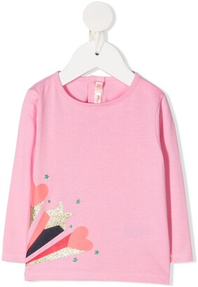 Billieblush shooting star-print long sleeved T-shirt