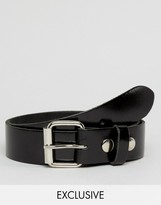 Reclaimed Vintage Patent Leather Roller Buckle Belt Black