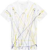 GUESS Men's Paint Drip V-Neck T-Shirt