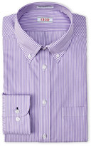 Izod Purple & White Striped Regular Fit Dress Shirt