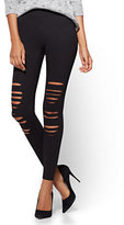 New York & Co. Soho Jeans - Knit Destroyed Legging - Black