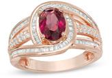 Zales Oval Rhodolite and 5/8 CT. T.W. Diamond Swirl Frame Multi-Row Ring in 10K Rose Gold