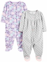 M/ädchen Infant-and-Toddler-Bodysuit-Footies 2-Pack Cotton Snap Footed Sleep and Play Simple Joys by Carters Baby