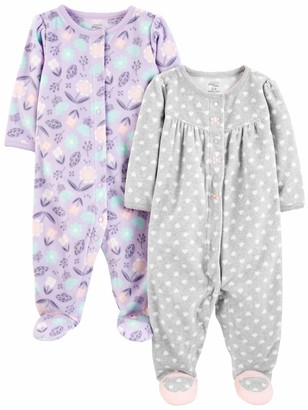 Carter's Simple Joys by Baby Girls' 2-Pack Fleece Footed Sleep and Play