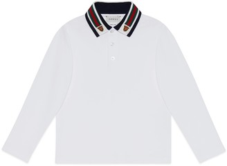 Gucci Children's polo with Web and tiger head