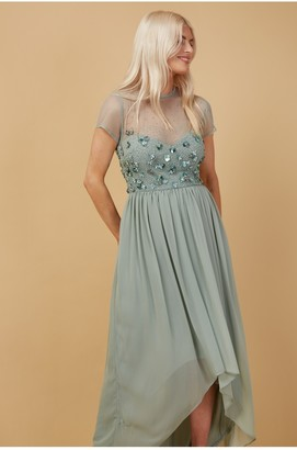 Little Mistress Bridesmaid Elise Waterlily Hand-Embellished Sequin Hi-Low Prom Dress