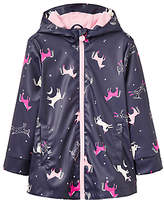 Joules Little Joule Girls' Unicorn Rubber Coat, French Navy