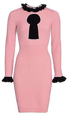 Moschino Women's Keyhole Print Ruffle Sweater Dress