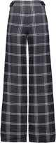 Proenza Schouler Leather-trimmed checked basketweave satin-twill wide-leg pants