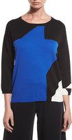 Joan Vass 3/4-Sleeve Abstract Star Colorblock Sweater