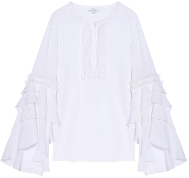 Andrew Gn Silk Ruffle Sleeves Top
