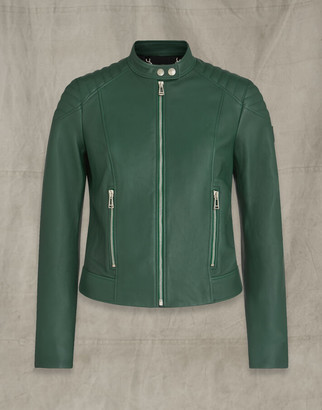 Belstaff MOLLISON LEATHER JACKET Green UK 8 /