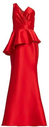Badgley Mischka Asymmetric Drape Stretch Mikado Mermaid Gown