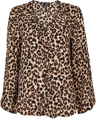 Wallis Brown Animal Print Ruffle Top