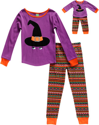 Dollie & Me Girls' Sleep Bottoms PU/MU - Purple Witch Hat Pajama Set & Doll Outfit - Toddler & Girls