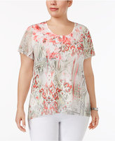 JM Collection Plus Size Sheer-Trim Printed Top, Created for Macy's