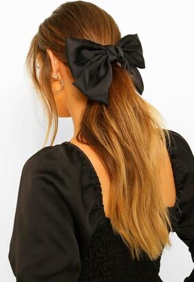 boohoo Large Satin Bow Hair Clip