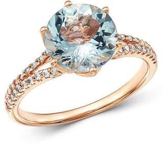 Bloomingdale's Aquamarine & Diamond Ring in 14K Rose Gold - 100% Exclusive