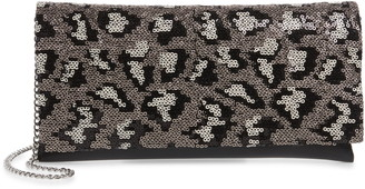 Nordstrom Leopard Sequin & Faux Leather Clutch