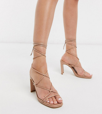 Z Code Z Z_Code_Z Exclusive Adali vegan ankle tie heel sandals in blush