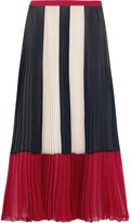 RED Valentino Color-block Plissé Chiffon Maxi Skirt - Blue