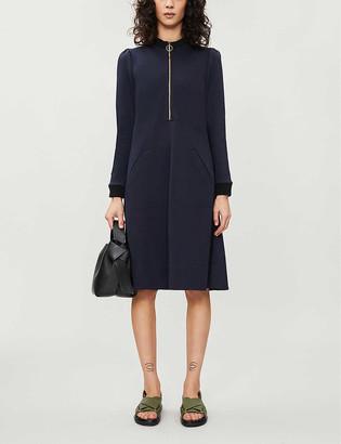 Zip-neck knitted midi dress