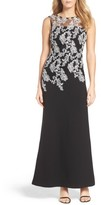 Ellen Tracy Women's Embroidered Crepe Gown