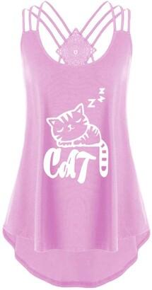 Toamen Women's Vest Tops Sale Summer Cat Print Spaghetti Strap Sleeveless Irregular Tank Flowy Racerback Blouse Tee T-Shirt (Pink 8)