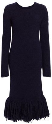 Marina Moscone Boucle Knit Fringe Midi Dress
