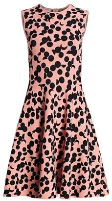 Akris Punto Luna Dot Print Knit Fit-&-Flare Dress