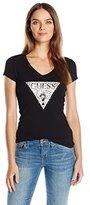 GUESS Women's Short Sleeve Ocelot Logo R3 V Neck