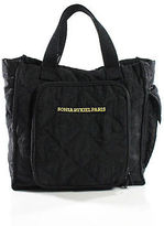 Sonia Rykiel Black Buttoned Top Lightweight Small Tote Handbag