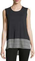 Allen Allen Crewneck Sleeveless Striped-Hem Cotton Tank Top