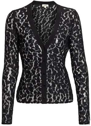 L'Agence Vita Long-Sleeve Lace Cardigan