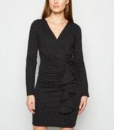 New Look Spot Ruffle Long Sleeve Dress