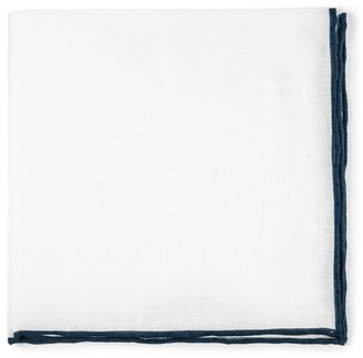Tie Bar White Linen With Rolled Border Navy Pocket Square