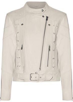 IRO Totem Lace-up Cracked-leather Biker Jacket