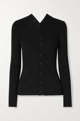 Balenciaga Ribbed Cotton-blend Cardigan - Black