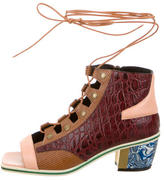 Rodarte Embossed Lace-Up Sandals