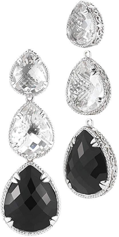 Alor Delatori by Delatori By Silver 42.00 Ct. Tw. Black Onyx & Crystal Drop Earrings