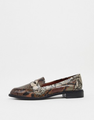 ASOS DESIGN Mail loafers in snake