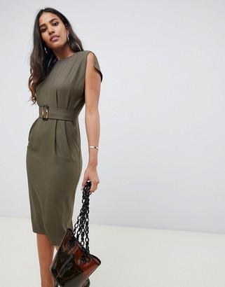 Asos Design DESIGN split cap sleeve midi pencil dress with buckle-Green