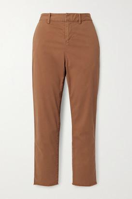 Nili Lotan Montauk Cropped Frayed Stretch-cotton Twill Straight-leg Pants