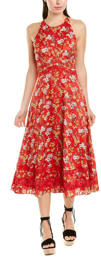Derek Lam 10 Crosby Lace-Trim Silk-Blend Midi Dress