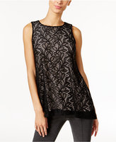 Alfani Petite Lace High-Low Swing Top, Only at Macy's