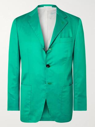 Kiton Green Slim-fit Unstructured Cotton And Linen-blend Blazer - Blue